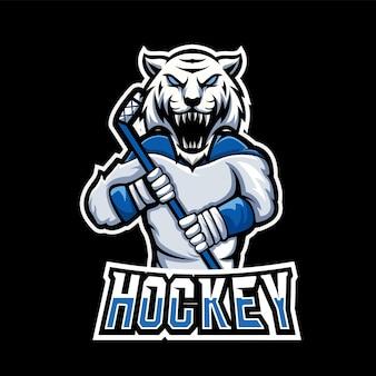 ホッケースポーツとeスポーツゲームのマスコットのロゴ