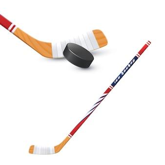 Хоккейная клюшка и шайба