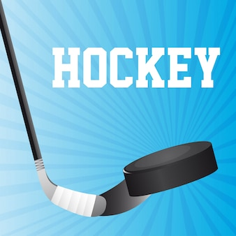 Hockey stick and hockey puck over blue background vector