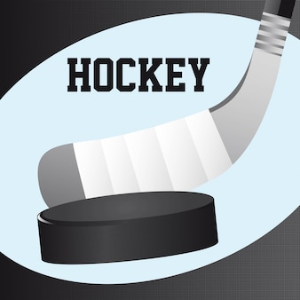 Hockey stick and hockey puck close up vector illustration Premium Vector