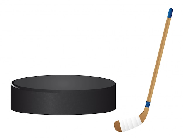 Hockey stick and hockey puck isolated vector illutration