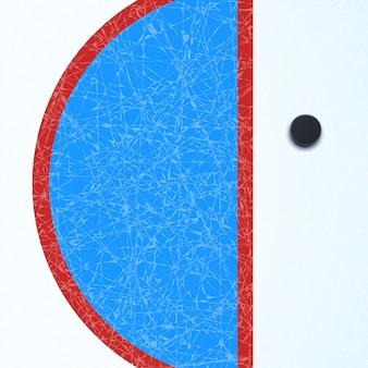 Хоккейная поверхность с шайбой