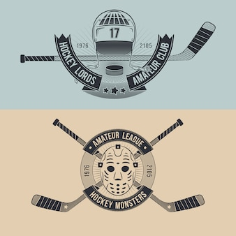 Hockey team or league logo set