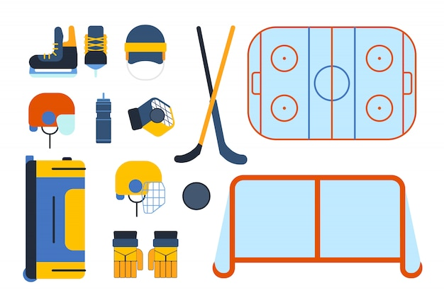 Hockey uniform and accessory set in flat style.
