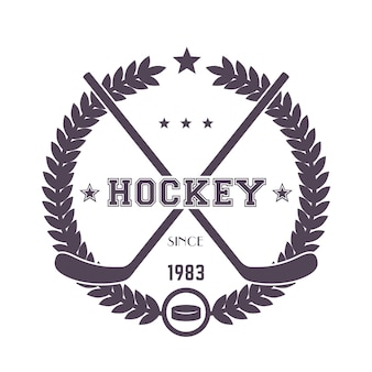 Винтажная эмблема хоккея, логотип со скрещенными клюшками и шайбой на белом