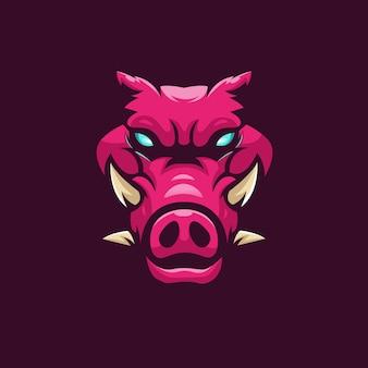 Дизайн логотипа талисмана свиньи с современным стилем концепции иллюстрации для печати значков, эмблем и футболок. четырехрогий кабан