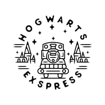 Hogwarts train monoline vintage outdoor badge design