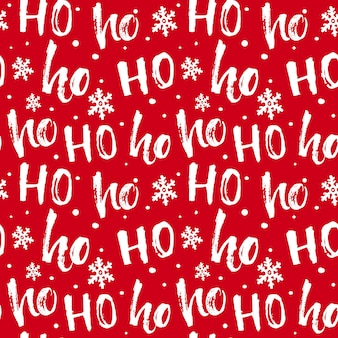 Hohoho pattern santa claus seamless texture for christmas red background with handwritten words ho