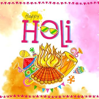 インドの色の祭りのための幸せなhoilの背景。