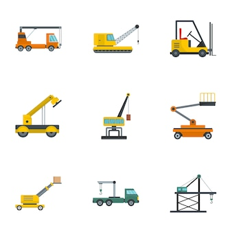 Hoisting crane icons set, cartoon style