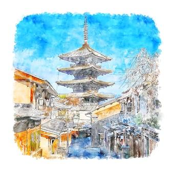 Храм хокан дзи киото япония акварельный эскиз рисованной
