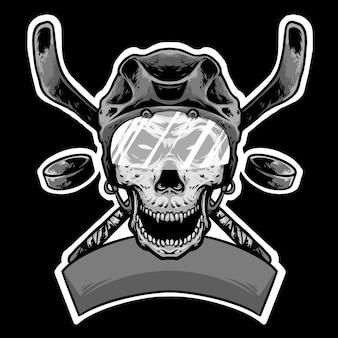 頭蓋骨のヘルメットヘッドhokeyスティックとバナーのロゴデザインマスコット