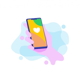 Holding a smartphone vector