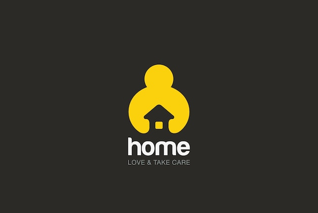 Holding hands house logo icon. negative space style.