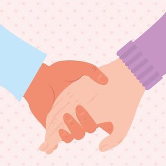 Holding hands illustration on hearts background