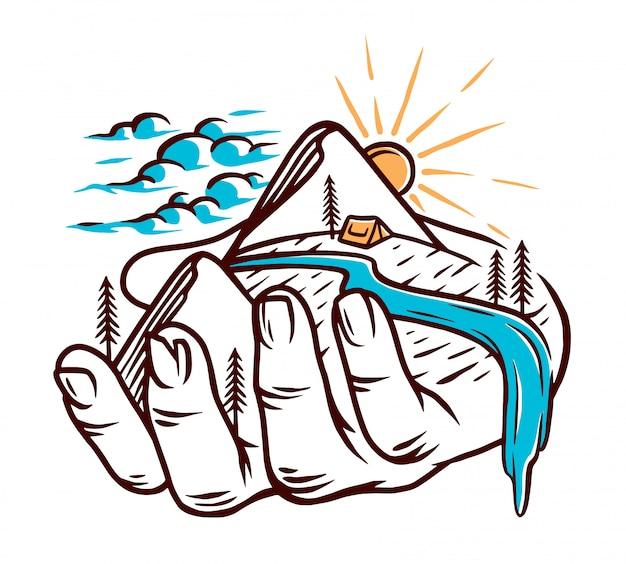 Holding nature illustration