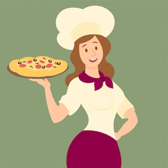Holding a tasty pizza on a tray