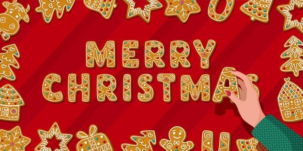 수제 진저 쿠키와 편지 a 크리스마스 배너를 들고