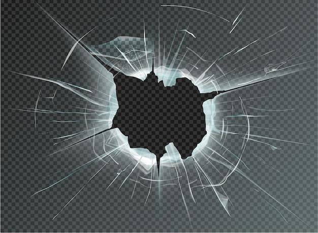 투명 한 배경에 구멍 깨진 유리