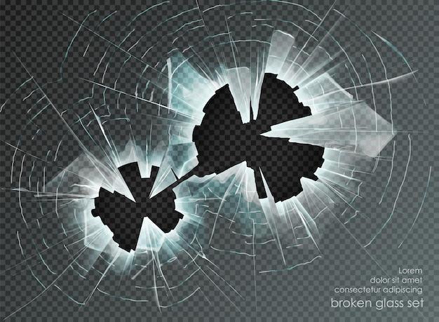 Отверстие битого стекла на прозрачном фоне