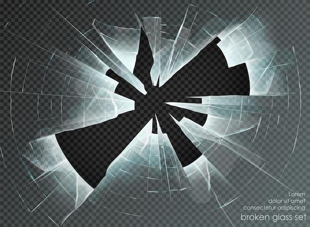 Hole broken glass on transparent background