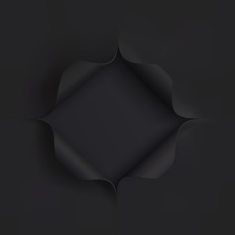 黒い紙の穴。プレゼンテーションイラストのテンプレートです。