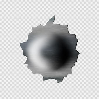 Hole in metal