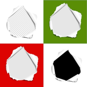 Hole torn paper set  background