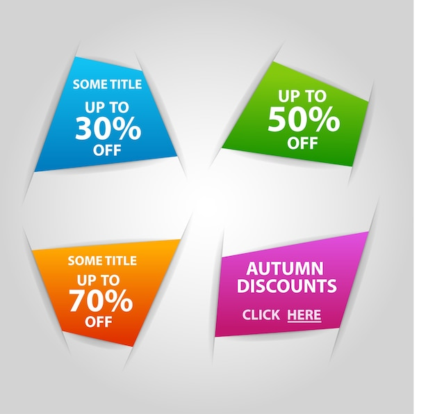Holes in the paper with colorful banners. super sale, banner, -50%, -30%, -70% off