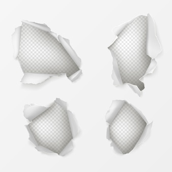 Holes in white paper sheet realistic set