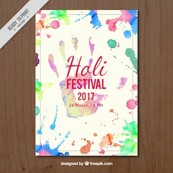Holi 2017 festival brochure with watercolor stains