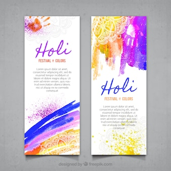 Holi abstract painting banners