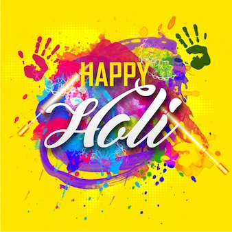 Holi background with handprints and paint stains