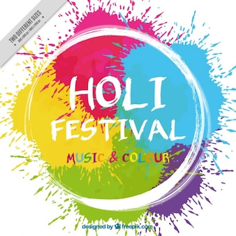 Holi background with white circle and colorful stains