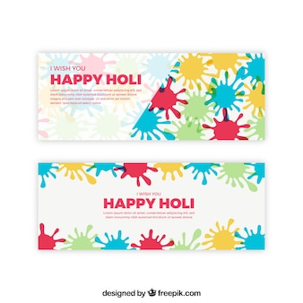 Holi banners with paint splashes