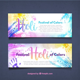 Holi banners with watercolor splatters