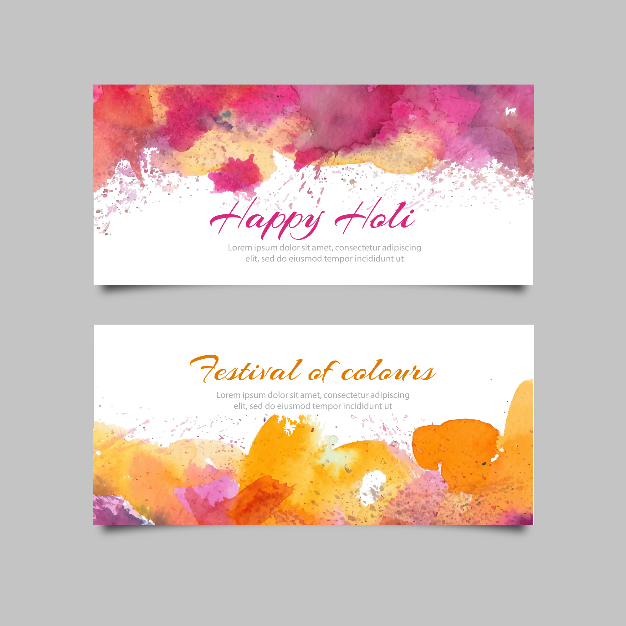 Holi banners with watercolors