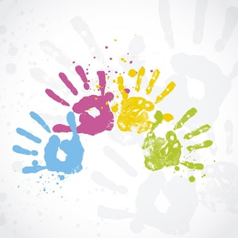 Holi Card with Hand Prints