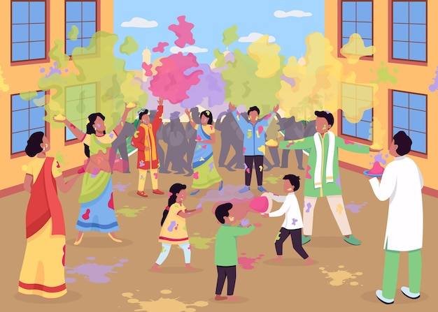 Holi celebration flat color illustration. traditional religious event in india. people play with powder paint. hindu festival. indian 2d cartoon characters with landscape on background