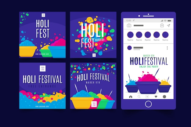 Holi colorful festival instagram post collection