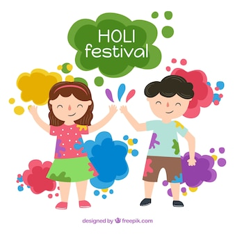 Holi design with two kids