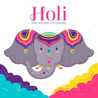 Holi festival background flat design