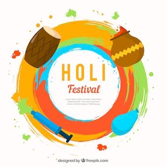 평면 디자인의 holi 축제 배경
