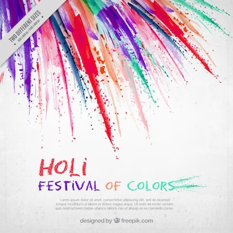 Holi festival background with brush strokes