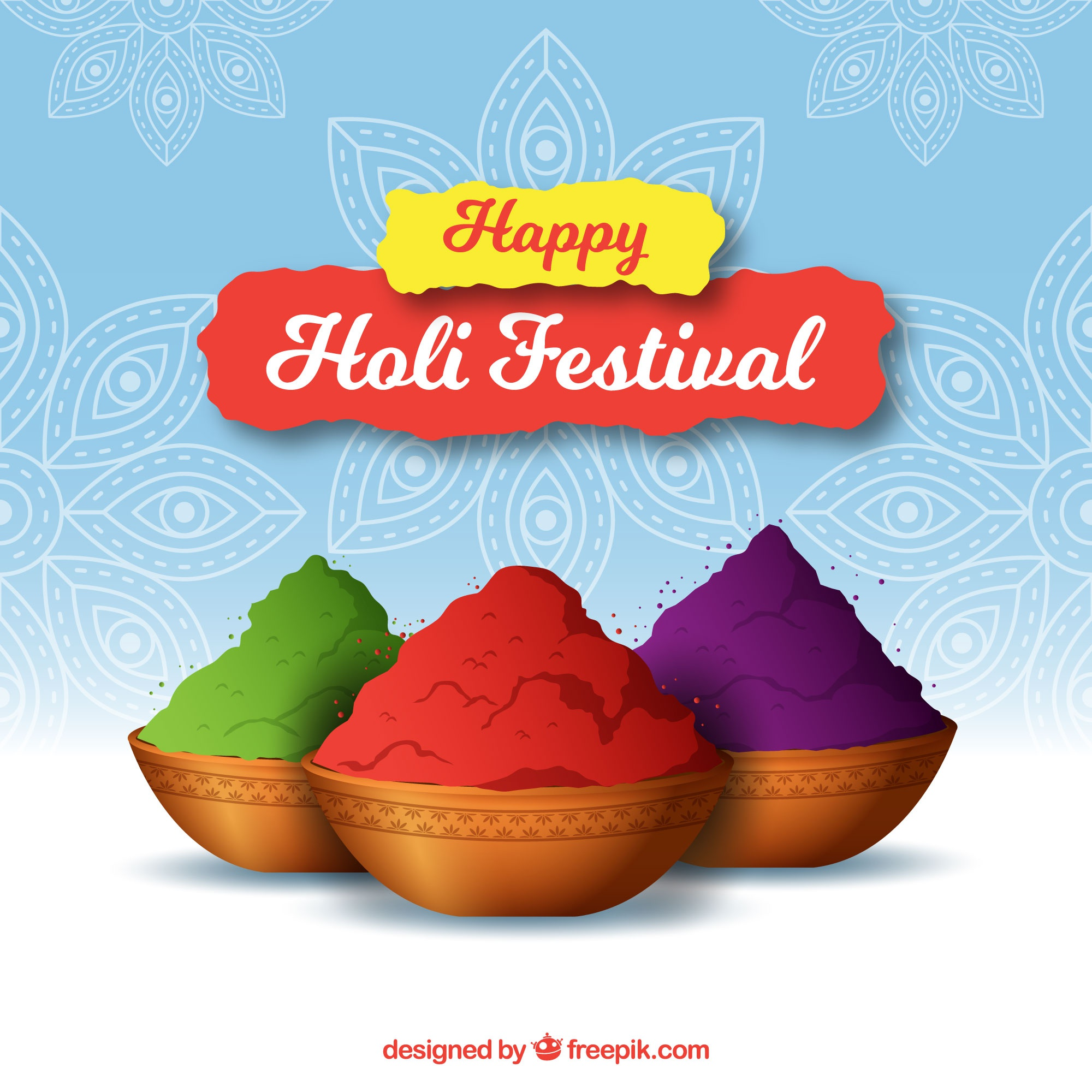 Holi festival background with colors