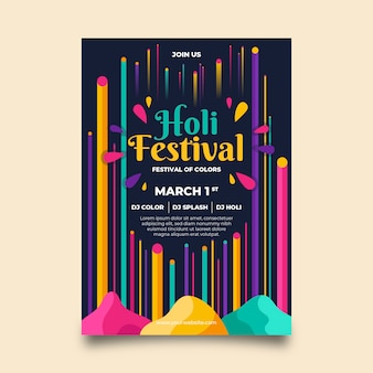 Holi festival colorful poster template
