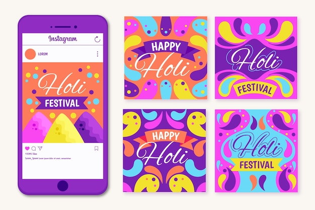 Holi festival concept for instagram post