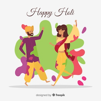 Holi festival dancers background