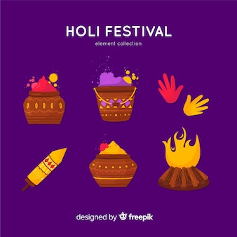 Коллекция элементов фестиваля холи