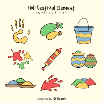 Holi festival elements pack